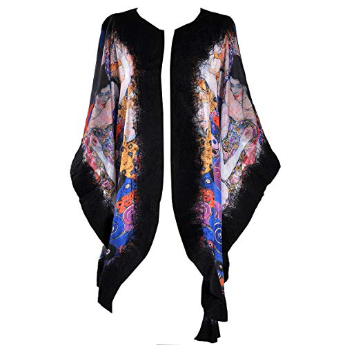 Tilla Wool-Feld Poncho voor dames, handgemaakt, One Size