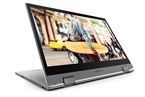 """MEDION MD61268 - Ordenador portátil convertible de 14"""" Full HD (Intel Core i5-8250U, RAM de 8 GB DDR4, SSD de 128 GB, Intel Graphics, Windows 10 Home) Gris Titanium"""