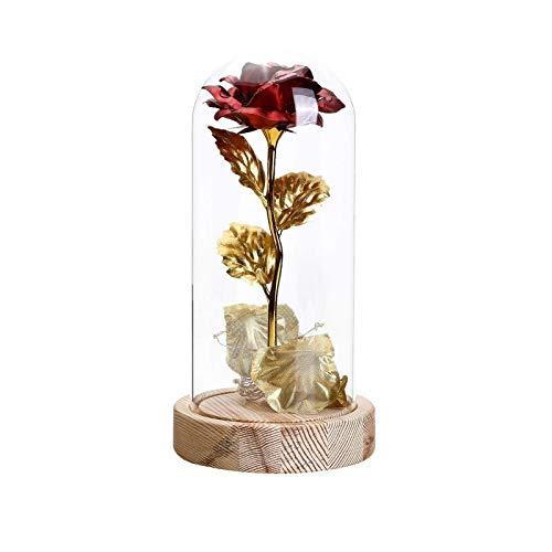Gaoqi Rosas de Hoja de Oro con Luces Adornos de Cubierta de Vidrio Luz de Noche LED