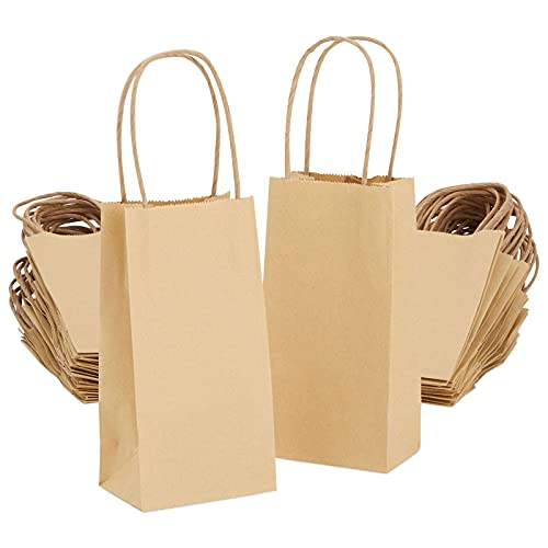 Small Kraft Paper Gift Bags with Handles (50 pack, 6.25 x 3.5 In, Brown)
