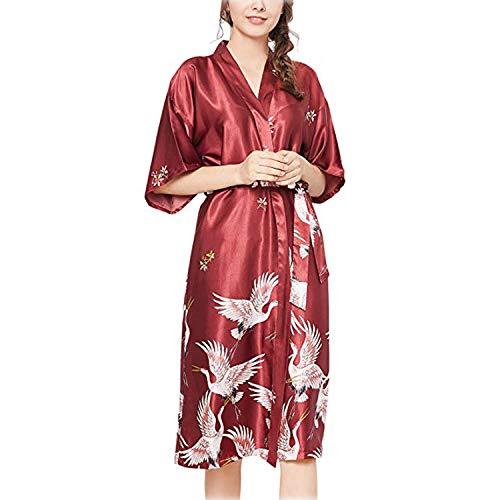 ARBLOVE Nuevo Kimono Mujer Bata Novia Albornoz Largos de Satén
