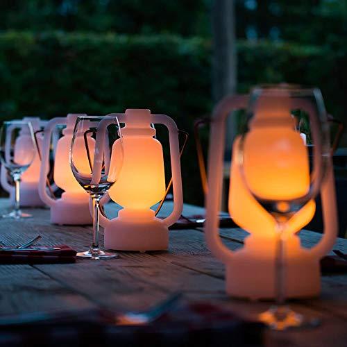 QAZQA Modern/Design Tischleuchte/Tischlampe/Lampe/Leuchte weiß Flammeneffekt 22 cm - Storm Mini/Außenbeleuchtung Kunststoff Rund / (nicht austauschbare) LED Max. 1 x 1 Watt