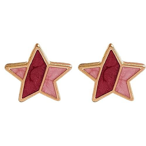 FEARRIN Pendientes para Mujer Stud Metal Drop Enamel Simple Pentagonal Star Stud Creativo Colorido Capaz Mujer joyería pinkstud