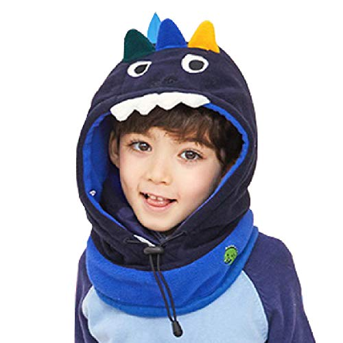 TRIWONDER Pasamontañas para niños Máscara de la Cara Fleece Máscara de esquí Cuello Calentador de Nariz Calentador de la Cara Invierno Animal Hood Hat para niños niñas (Azul Marino - Dinosaurio)