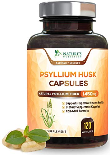 Psyllium Husk Capsules Premium Dietary Fiber 1450mg - Psyllium Powder Supplement - Made in USA - Best Vegan Soluble Pills, Helps Support Digestion & Regularity - 120 Capsules