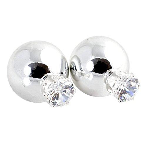 Geralin Gioielli Orecchini da donna con doppia perla e strass, in argento