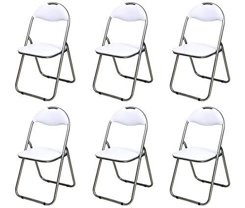 Totò Piccinni SEDIE Pieghevoli comode di Alta qualità in Metallo, Imbottite in Ecopelle Resistenti salvaspazio (Bianco, 6)