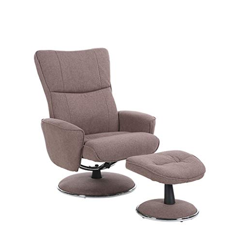 Swivel Recliner Chair And Footstool- Wheat Fabric,Swivel Armchair Lounge Seat,for Dining Living Room Office Reception