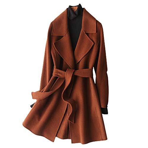 Para mujer de lana Fosa abrigos de invierno de otoño sólida color de la capa de la cachemira delgada caliente de longitud media abrigo de lana Cardigan chaquetas Outwear con cinturón,Caramel,L