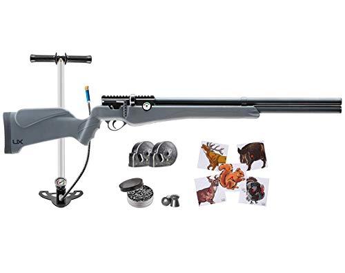 Wearable4U Umarex Origin Air PCP Rifle .22 Cal with High Pressure Air Hand Pump Combo 100x Paper Targets and 250x .22 Lead Pellets Bundle (Black)