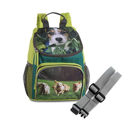 Set Kinder Rucksack Hund Lime grün mit Netztaschen + Brustgurt GURTIES 26 x 31 x 11 cm