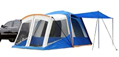 Roomy 10- by 10-foot tent sleeps 5-6 people with over 7 feet of headroom;  7- by 6-foot floorless screen room Sleeve attach to your vehicle to convert cargo space into sleeping space Transform the vehicle tent into a ground tent by fully removing the...