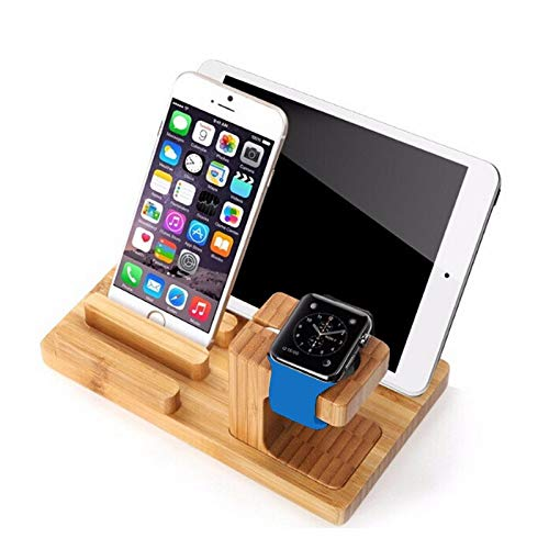 lcy Wooden Charging Box, Desktop Phone Stand for iPad Tablet, Tripod, Real Bamboo Wood Charging Stand, for Apple Watch, Phone, Tablet