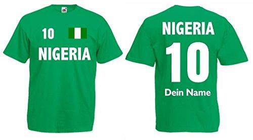 Fruit of the Loom Nigeria T-Shirt mit Wunschname und Wunschnummer Trikot g-l