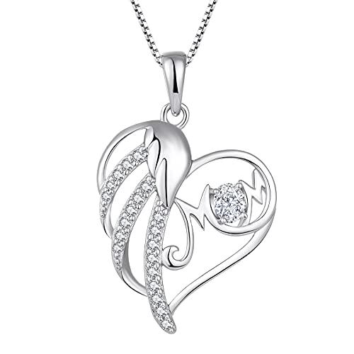 Starchenie Colgante de Mujer, Collar de Circonitas de Plata Esterlina en Forma de Corazón para Mamá