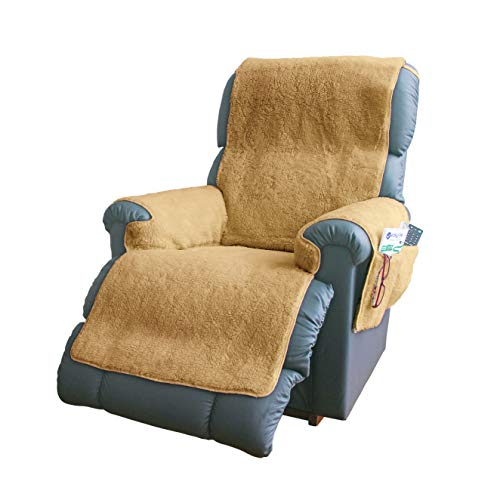 easylife lifestyle solutions Fleece Recliner Chair Cover | Protects Recliners from Spills And Stains | Slip-Resistant Backing, Elasticated Straps To Hold In Position - Chair Covers For Armchairs