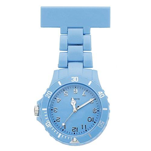 JSDDE Uhren Einfache Schwesternuhren Candy Farbe Krankenschwesteruhr FOB-Uhr Silikon Hülle Pulsuhr Pflegeuhr Brosche Taschenuhr Ansteckuhr Analog Quarzuhr (Himmelblau)