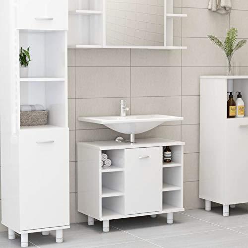 WooDlan Armario Mueble Almacenaje Organizador para Baño Cocina Salón con 7 Compartimentos y 1 Puerta 60x32x53,5 cm Blanco Brillo