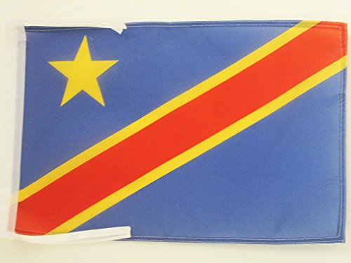 AZ FLAG Flagge DEMOKRATISCHE Republik des Kongo 45x30cm mit Kordel - KONGOLESISCHE Fahne 30 x 45 cm - flaggen Top Qualität