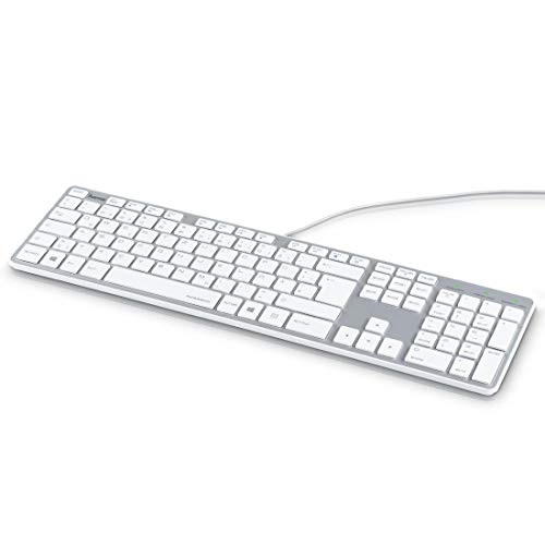 Hama PC Tastatur, kabelgebunden (geräuscharm, Ultra Slim Design, Business Tastatur, USB-kabelgebunden, Deutsches-Layout QWERTZ) Keyboard, weiß-silber