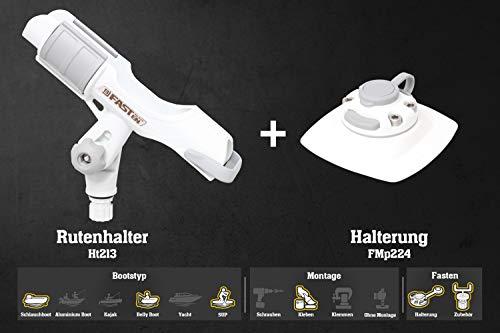 Fasten Set Rutenhalter + Halterung [PVC Basis] (110 mm x 110 mm) für Schlauchboote, Farbe:weiß
