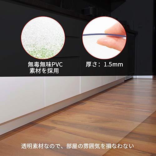 JOOCIIキッチンマット透明床マットPVC台所マット450*2400x1.5mm滑り止めマットソフト撥水おしゃれ汚れ防止お手入れ簡単床暖房対応