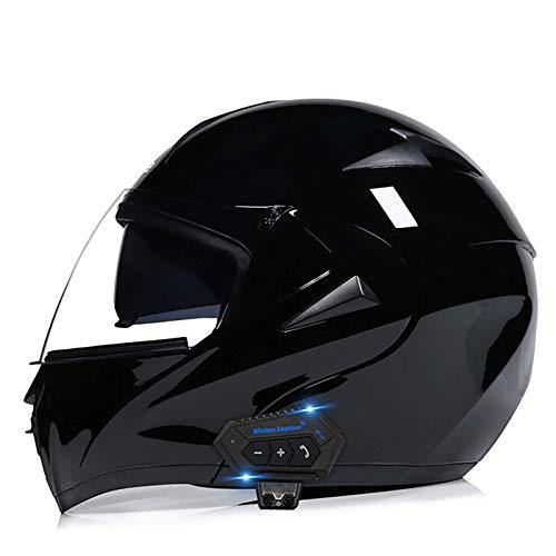 XYXZ Cascos Integrales De Moto Casco Abatible Delantero para Moto Casco De Moto Modular Cascos Integrales Viseras Dobles Aprobadas por Bluetooth Dot/Ece Lente Antiniebla Ajustable Abs Sóli