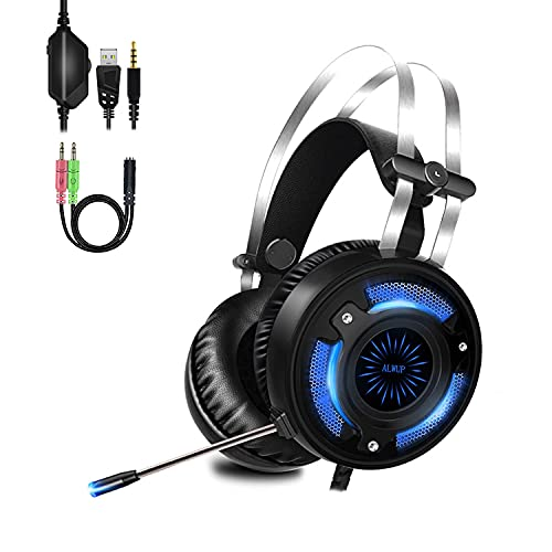 ALWUP Stereo Gaming Headset for PS4, Xbox One Headset, Lightweight Noise Cancelling Over Ear PC PS5 Gaming Headphones with Anti-Noise Mic, 50mm Drivers, Surround Sound, Soft Memory Earmuffs