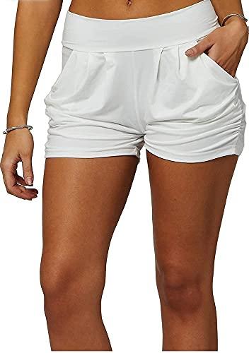 New Mix Premium Ultra Soft Brushed Yummy Print Harem Shorts with Pockets (L/XL, White)