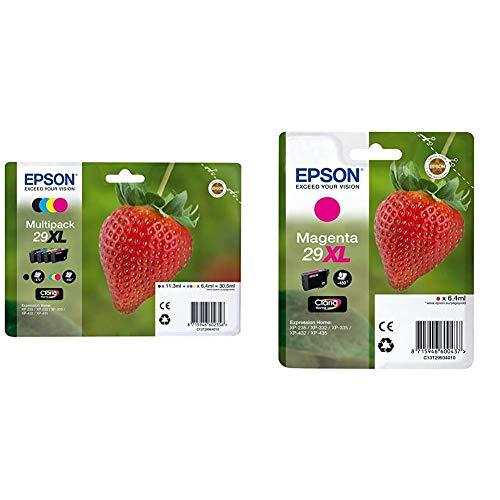 Epson 29XL Claria Home Strawberry Cartouches d'encre d'origine Multi-pack Noir/Cyan/Magenta/Jaune & 29XL Claria Home Strawberry Cartouche d'encre d'origine Magenta Amazon Dash Replenishment est prêt