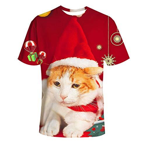 YYQX container heren 3D grafisch print T-shirt oranje katten-T-shirt 3DT mannen met kerstmuts korte mouwen ronde hals digitale print casual korte mouwen