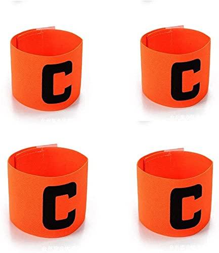 WUKONG99 4 brazaletes ajustables para jugadores de fútbol de colores, flexibles, para niños y jóvenes (naranja)