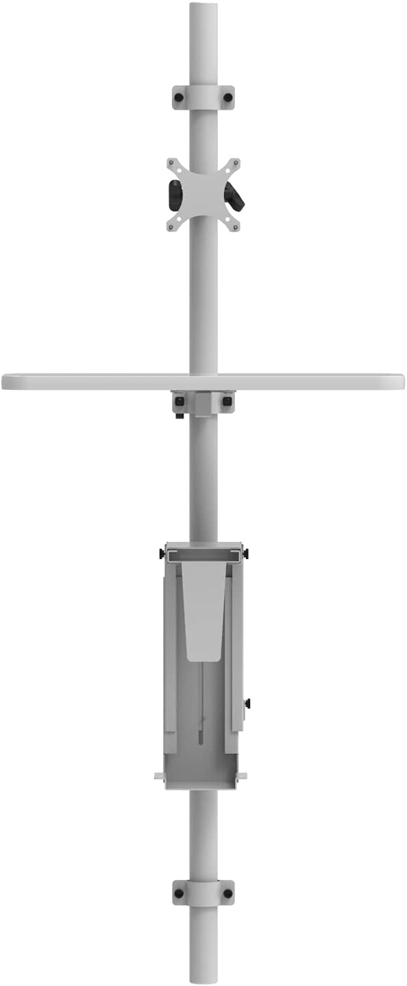 Adjustable Wall Mount Computer Station | Made in USA | Sit-to-Stand | Keyboard and Mouse Tray | Monitor Mount | CPU Bracket | Slim Design | Warehouse, Hospital, Clinic, Hallways | Gray