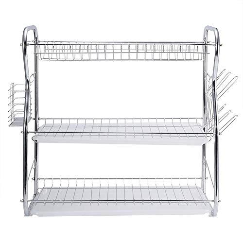 Escurreplatos de acero inoxidable con cromado para platos y cubiertos, resistente a la humedad, escurreplatos de apoyo, 3 estantes, 59 x 58 x 55 cm