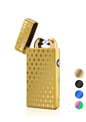 TESLA Lighter T08 Special-Edition 3D Kacheln Gold Lichtbogen Feuerzeug USB Aufladbar Elektro Sturmfest Plasma Doppel-Lichtbogen mit Akku