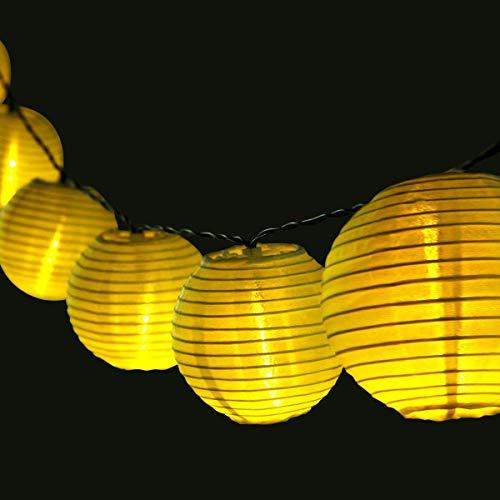 AngLink - Guirnalda solar con 20 farolillos chinos con luces LED, impermeable, 4,8m de largo, para interior y exterior, (jardines, terrazas, fiestas, etc.)