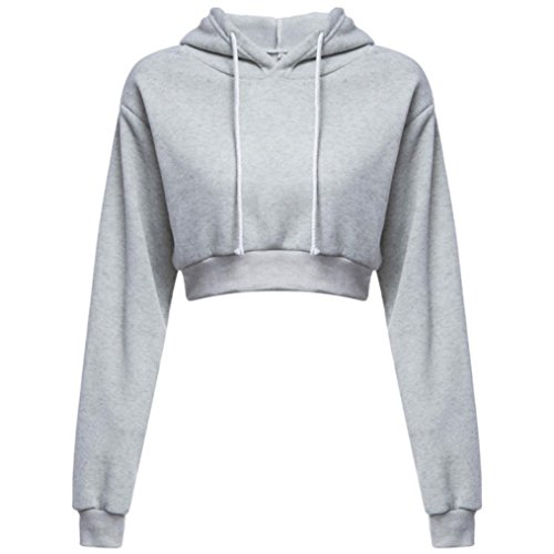 Amlaiworld Sweatshirts Mode Kurz Pulli Langarmshirts Damen bauchfrei komfortabel locker Sweatshirt weich Winter Herbst Kapuzenpullover für M?dchen (L, Grau)