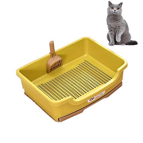 BCCDP Katzentoilette Katzenklo mit Rand und eingebautem Sieb Toilette for Ihre Katze mit Streuschaufel und Hygiene-Behälter Schalentoilette Kunststoff mit Trennsystem mit Top-Eingang