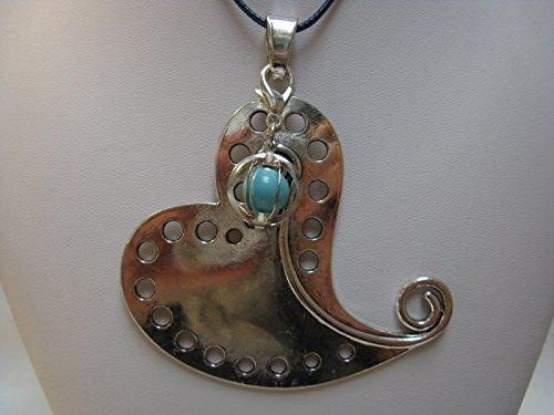 Natural mente – Pendentif Coeur + 1 pierre Chakra, pendentif pour collier, amulette, coeur, bande plastique incluse, pierres précieuses, n ° 176