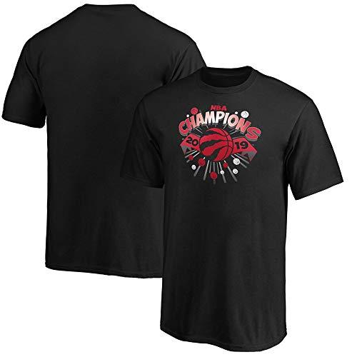 Camiseta NBA Toronto Raptors Aficionado Al Baloncesto Cuello Redondo Cómoda De Algodón Media Manga Negro Black-M