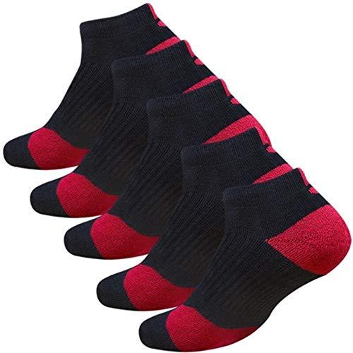 5 Paare Männer Sports Socken mit Dämpfung Terry Basketball Radfahren Laufendes Wandern Tennis Socken Set Ski Frauen Baumwolle EU 39-45 yc0209 (Color : Short 5 Black red, Size : EU 39 45)