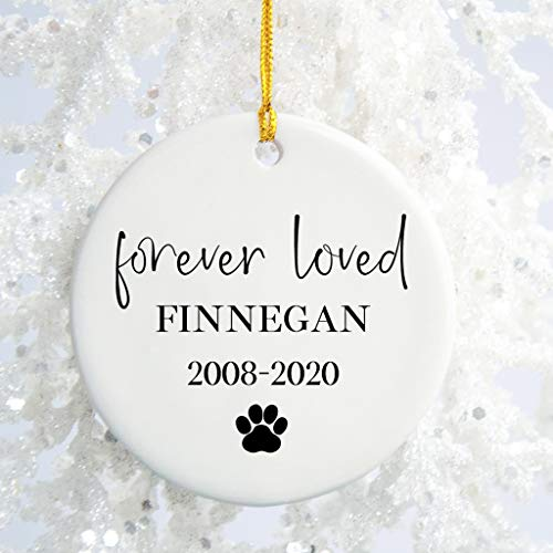 Tiukiu Ceramic Keepsake for Christmas Tree Decor, Forever Loved Pet Memorial Ornament, Sympathy Gift for Cat/Dog Loss, Personalized Pet Christmas Ornament