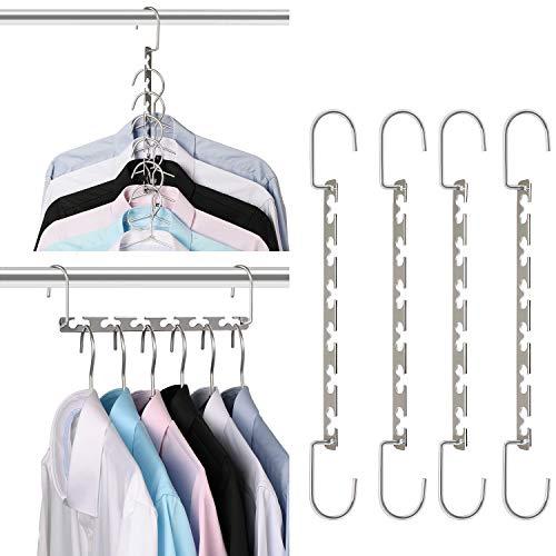 Giftol Space Saving Hangers Metal Hanger Magic Cascading Hanger Closet Clothes Organizer(4 Pack)
