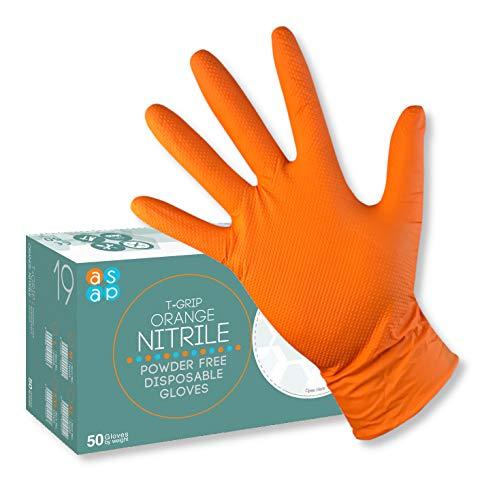 ASAP T-Grip ORANGE Nitril Puderfreie Einweghandschuhe, 8,5g DIAMANT Texturiert - Box 50 (L)