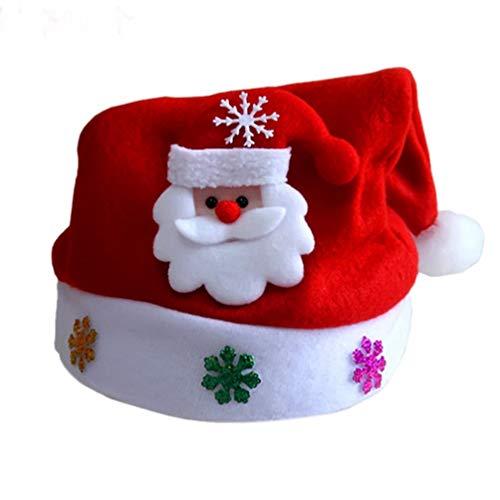 Amosfun LED Weihnachtsmütze blinkende Weihnachtsmütze leuchtende Weihnachtskopfschmuck für Erwachsene (Weihnachtsmann)