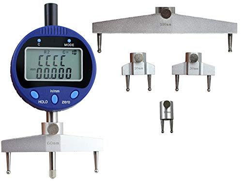 CGOLDENWALL High accuracy digital radius gauge indicator R gauge Digital radian gauge with 10mm /20mm /30mm /60mm/100mm changeable measuring jaw blue