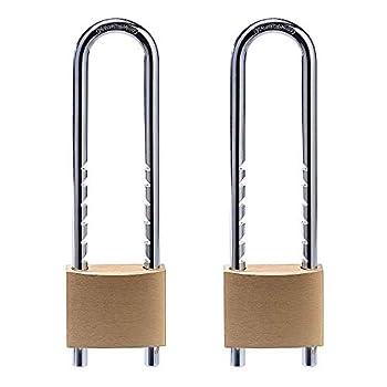Solid Brass Keyed Padlocks 2 inch Wide Body 2 Pack Keyed Alike Locks with Removable Adjustable-Length Shackle
