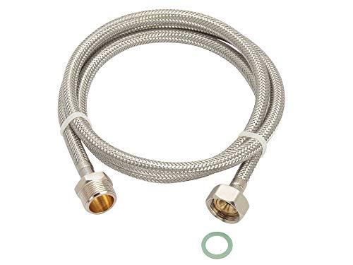 Zulaufschlauch Verlängerung 3/4'ÜM x 3/4'AG, 1m-5m, Aquastop Edelstahl-Waschmaschinenschlauch, auch für die Spülmaschine - Trinkwasser Zulassung, Schlauchlänge:100cm