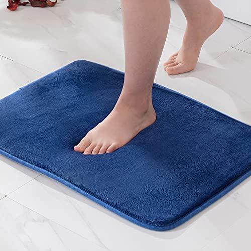 MIULEE 1 Pieza Alfombra de Baño Microfibra Antideslizante Alfombra Suave Super Absorbente Color Sólido para Baño Dormitorio Pasillo Sala de Estar Cocina 40x60cm Azul Marino