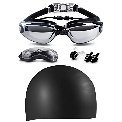 LOLOMODA Swim Goggles & Silicone Long Hair Swim Cap Set Black, No Leaking Anti Fog UV Protection for Men Women Adult Youth Kids, Waterproof, Triathlon Goggle with Free Protection Case